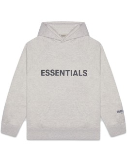"""Fear Of God Essentials 3D Silicon Applique Pullover Hoodie """"Heather Grey"""""""